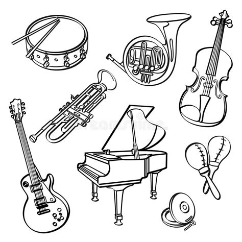Vector musical instruments sketch design stock illustration. Musical Instruments Stock Illustration - Image: 51052841