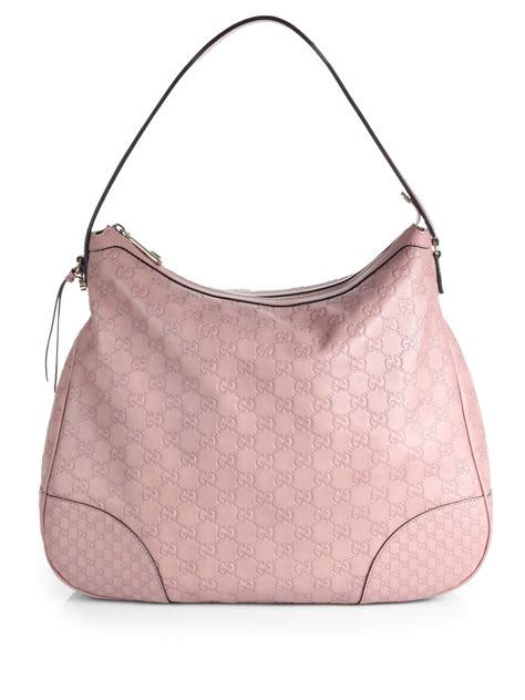 lyst gucci bree ssima leather hobo bag  pink