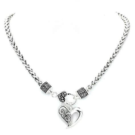silver wheat chain heart brighton bay jewelry necklace