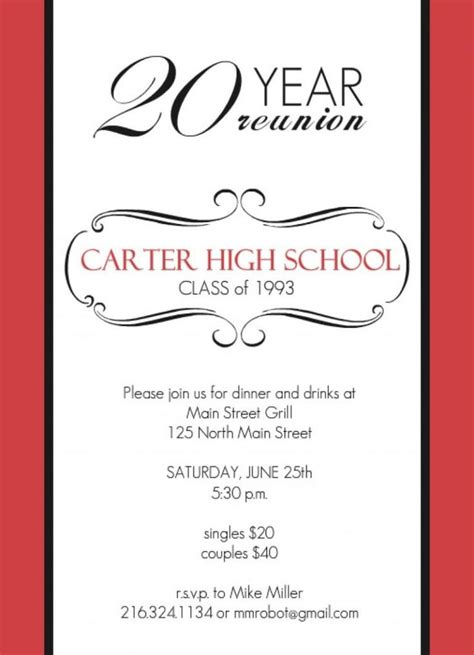 High School Class Reunion X Invitation Card Reunion With