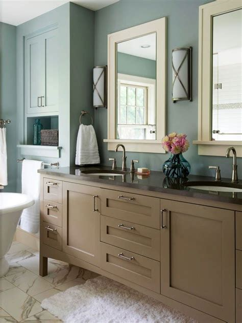 taupe dusty blue off white bathroom paint color