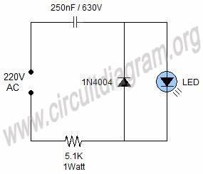 simple 220v mains indicator led circuit diagram With 120vac or 240vac powered leds circuit diagram