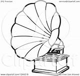 Phonograph Gramophone Player Vector Clipart Record Coloring Template Illustration Pages Lal Sketch Royalty Clip Perera sketch template