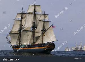 Vintage Frigate Sailing Ship Sea Under Stock Photo 9129514 ...