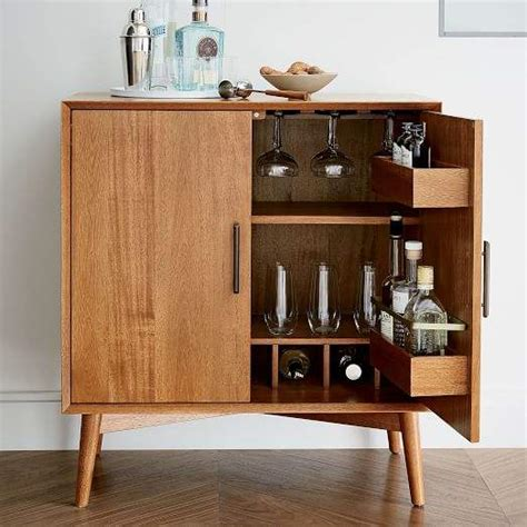 west elm mid century bar cabinet small office mueble