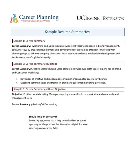 How To Write A Resume Summary by 9 Career Summary Exles Pdf Exles