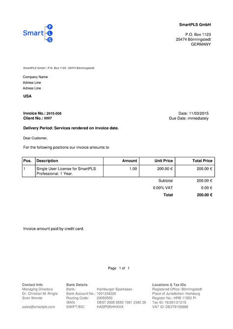 Request letter to bank manager. Will I receive an invoice? | SmartPLS