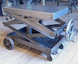 Industrial Adjustable Scissor Lift Table at 1stdibs