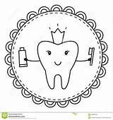Coloring Tooth Vector Crown sketch template