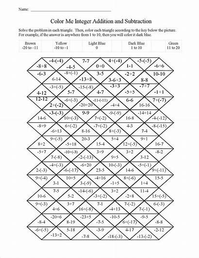 Math Worksheets Christmas Integers Grade Addition Subtraction