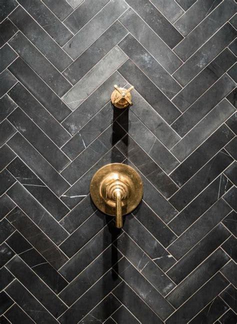 slate herringbone tiles contemporary bathroom