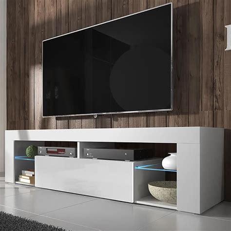 Meuble De Tele Meuble Tv Hugo Blanc Mat Blanc Brillant Avec Led Achat Vente Meuble Tv Meuble Tv Hugo Blanc