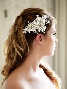 Ivory Bridal Lace Headpiece Crystal Wedding Headpiece