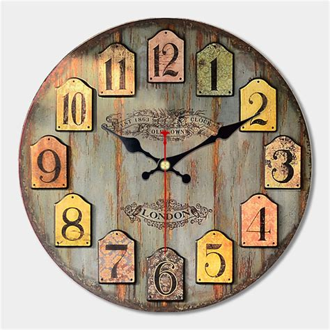 """Handmade from a wood base, this wall clock is the perfect timing solution for your home. 12"""" Large Wall Art Clock Vintage Wood Modern Silent Living ..."""