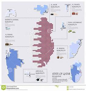 Dot And Flag Map Of State Of Qatar Infographic Stock ...