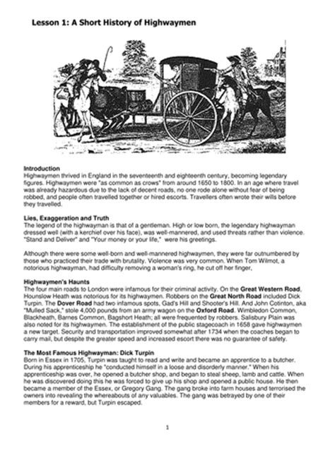 the highwayman vocabulary and worksheets by bevevans22