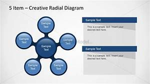 Spoke Diagram Design For Powerpoint With 5 Elements And