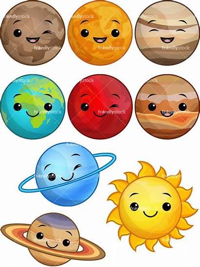 Solar Kawaii System Cartoon Clipart Clip Planet