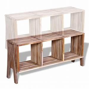Meuble Tv Avec Etagere : acheter meuble tv empilable en teck recycl avec 3 tag res pas cher ~ Teatrodelosmanantiales.com Idées de Décoration