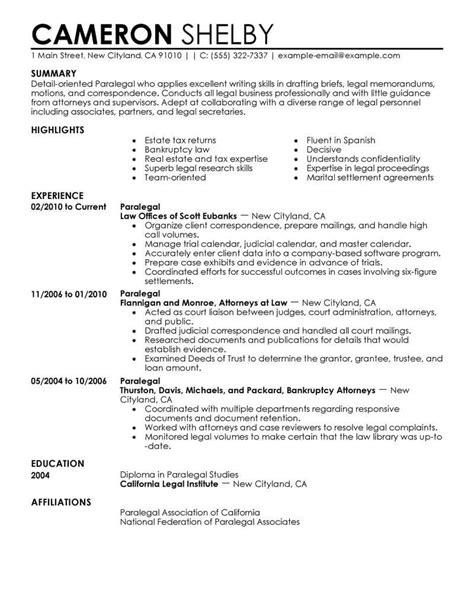 best paralegal resume exle livecareer
