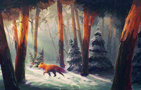 Snow Anime Wallpaper - anime fox tree animal forest snow winter