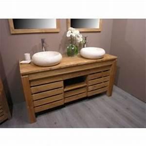 magnifique meubles en teck avec deux vasques en pierre With meuble sdbain