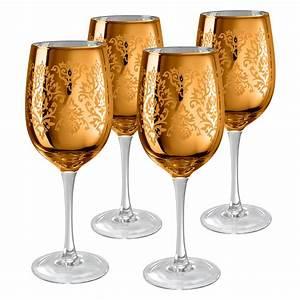 Artland, Inc, Gold, Brocade, Wine, Glasses, -, Set, Of, 4