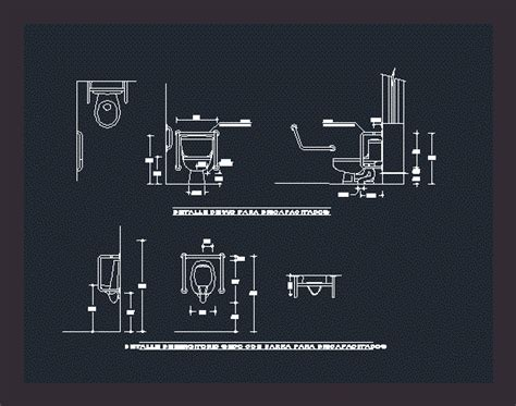 disabled toilets detail dwg plan  autocad designs cad