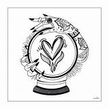 Tattoo Crystal Ball Coloring Adult Drawing True Designs Simple Tattoos sketch template