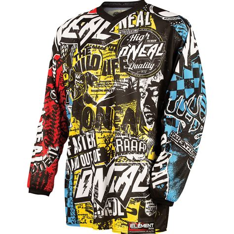 kids motocross jersey oneal element kids youths junior 2015 wild motocross moto