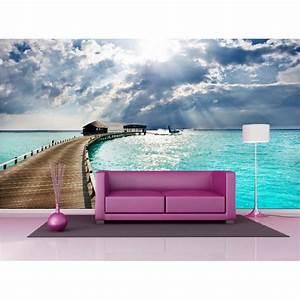 Papier Peint Geant : papier peint g ant d co les maldives 250x360cm art d co ~ Premium-room.com Idées de Décoration