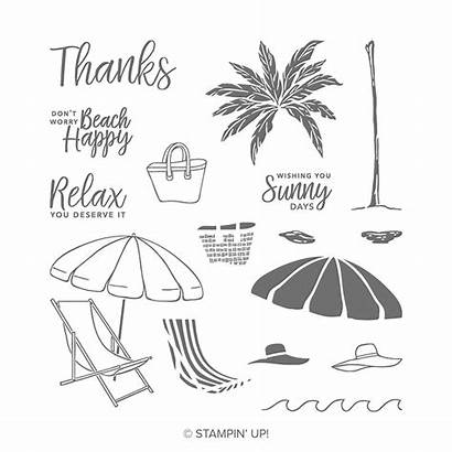 Stampin Happy Beach Stamp Stamps Card Photopolymer