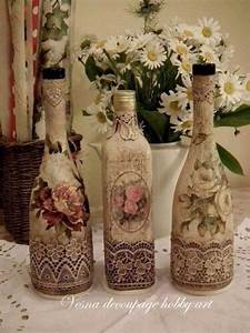 How to decorate Glass bottles with Decoupage -DIY Recycle