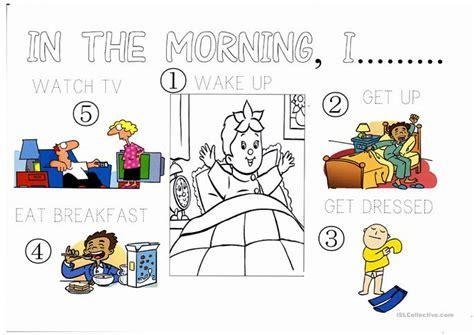 morning routine worksheet  esl projectable worksheets   teachers