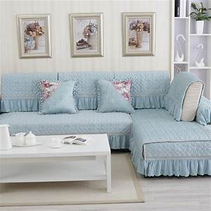 Sectional cover on sofa polyester cotton fabric sofa for Quilted sectional sofa cover