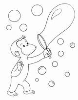 Coloring Curious George Pages Blowing Bubbles Print Printable Template Whatever sketch template
