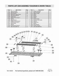 Parts List And Assembly Diagram D  Work Table