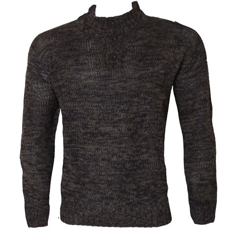 Mens New Long Sleeve Shawl Collar Cowl Neck Knitted