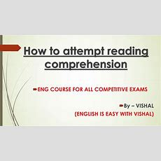 How To Attempt Reading Comprehension With 100% Accuracyssccgl,chslkvstgt Pgtfcinda Cds