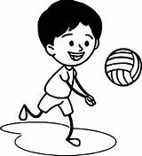 Volleyball Coloring Playing Boy Wecoloringpage Boys sketch template