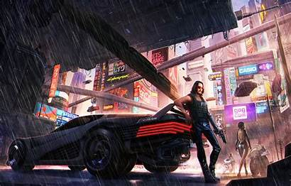 Cyberpunk 2077 Neon Weapons Rain