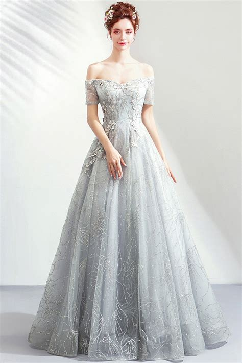 Elegant Grey Silver Sequins Long Prom Dress With Off ...