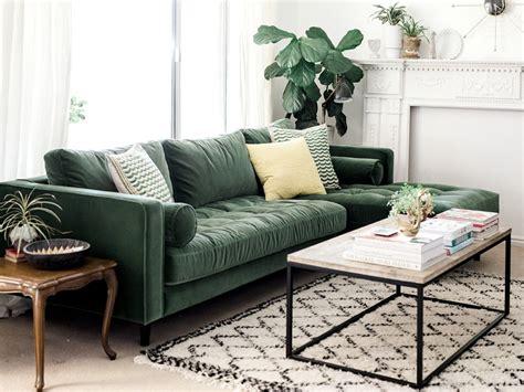 canapé vert inspirations pour un canapé en velours joli place