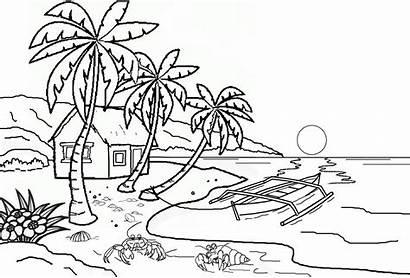 Mewarnai Pemandangan Gambar Untuk Pantai Alam Laut