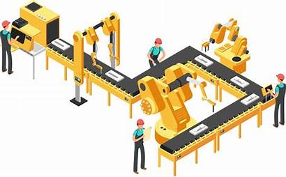 Production Line Factory Conveyor Vector Automated Robotic