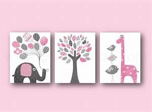 Cadre Chambre Enfant : lot de 3 illustrations 30x40cm pour chambre d 39 enfant et bebe art decor rose et gris art ~ Teatrodelosmanantiales.com Idées de Décoration