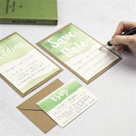 green watercolour diy wedding invitation set by russet and