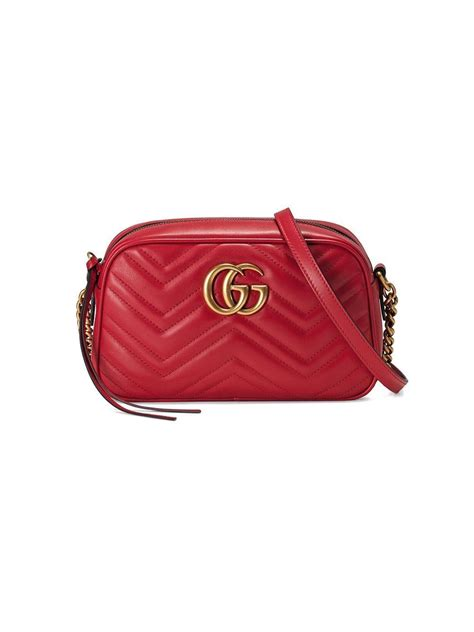 gucci marmont small matelasse leather shoulder bag  red lyst