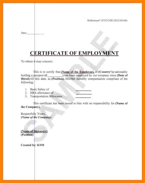 Certificate Of Employment Template by Employment Certificate Template Absolute Photograph Of
