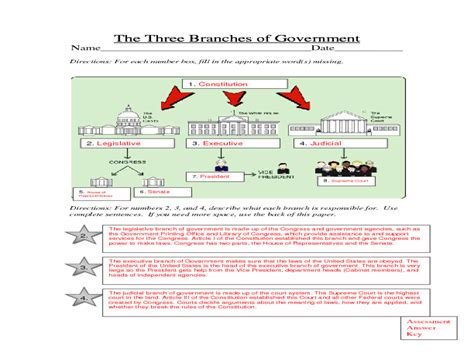 3 branches of government worksheets worksheets